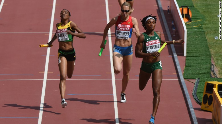 Nigeria's Patience Okon George finishes the qualifying round of the women's 4x400 metres relay athletics event at the 2015 IAAF World Championships in Beijing.