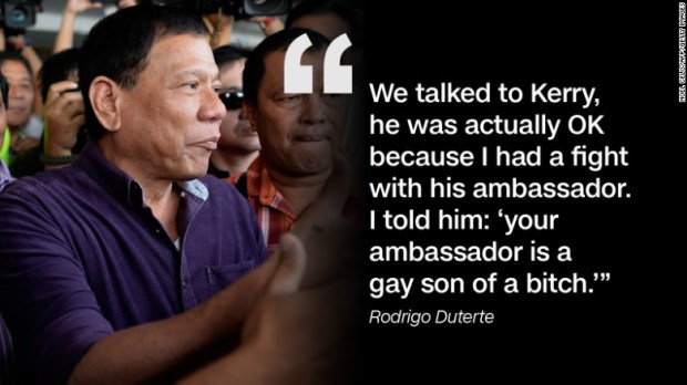 As he addressed troops at the country's Armed Forces Central Command Headquarters on August 5, Duterte recounted U.S. Secretary of State John Kerry's visit to the country, saying in Tagalog that he was feuding with U.S. Ambassador to the Philippines Philip Goldberg.