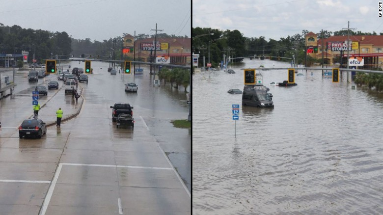 A road in Baton Rouge was relatively dry Saturday but was inundated by Sunday.