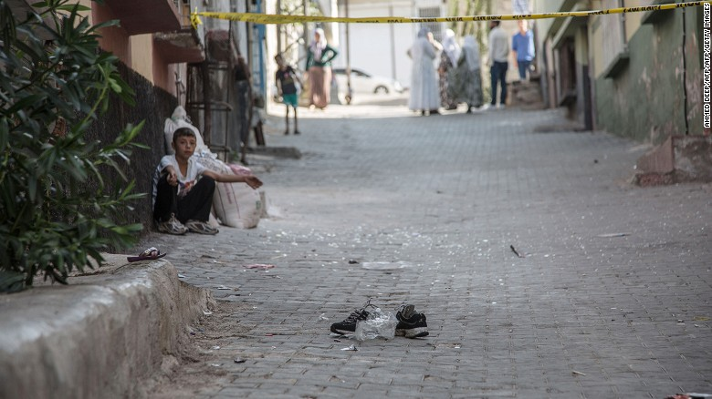A pair of shoes remains near the scene of the weekend attack on a wedding party in Gaziantep, Turkey.