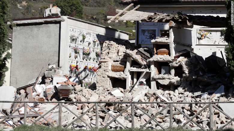 A graveyard in Campi, central Italy, lies in ruins on Monday, October 31, after another powerful earthquake struck the region on Sunday. No deaths have been reported from the 6.6-magnitude quake as many towns in the affected area were evacuated following a devastating earthquake in August, which killed almost 300 people.