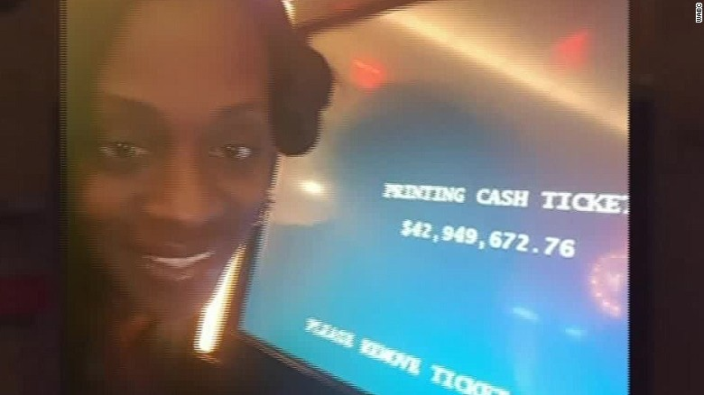 Katrina Bookman and a slot machine screen displaying what she thought were her winnings.