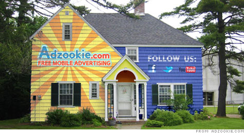 Startup advertising firm Adzookie wants to turn homes into massive billboards. In exchange, the company will pay the house's mortgage.