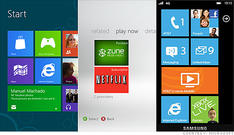 The desktop (left), Xbox (middle) and Windows Phone (right) will soon share one common interface.