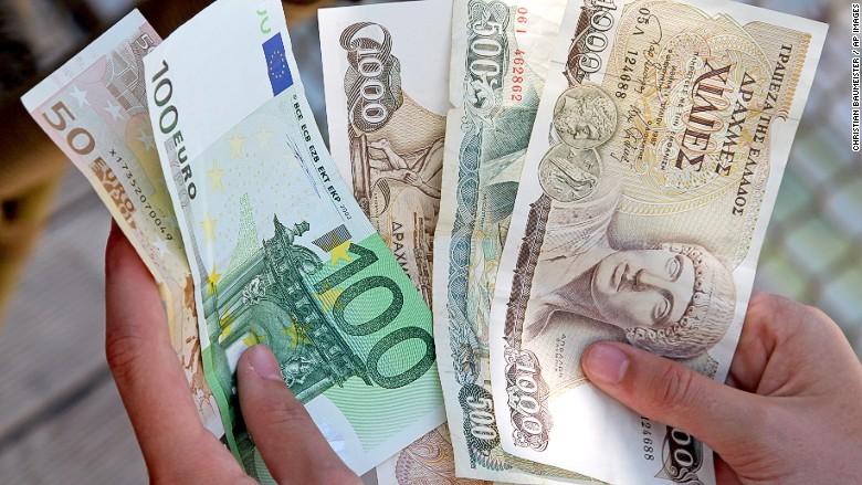 greece euros and drachma
