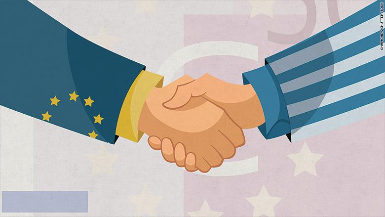 greece euro handshake