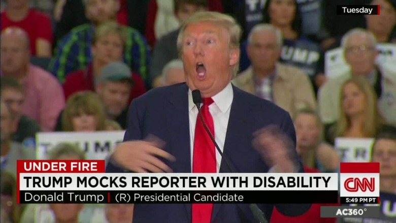 Image result for image of trump making fun at the disabled