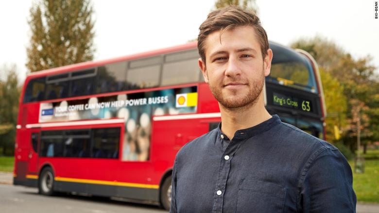 london bus coffee fuel arthur kay bio-bean shell