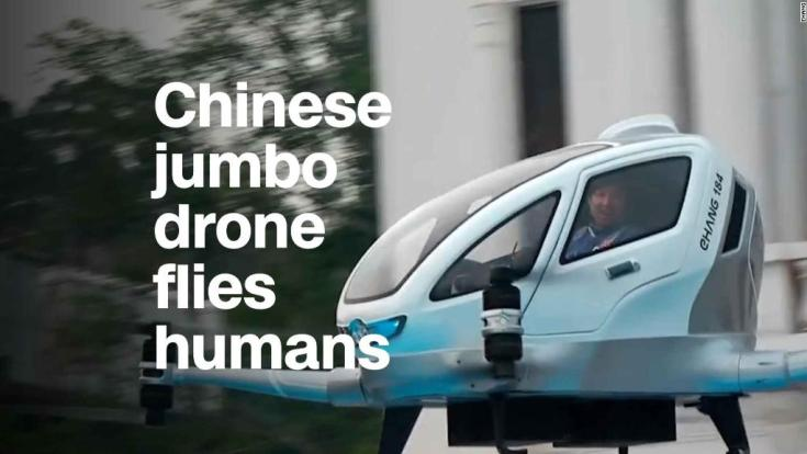 Chinese jumbo drone flies humans