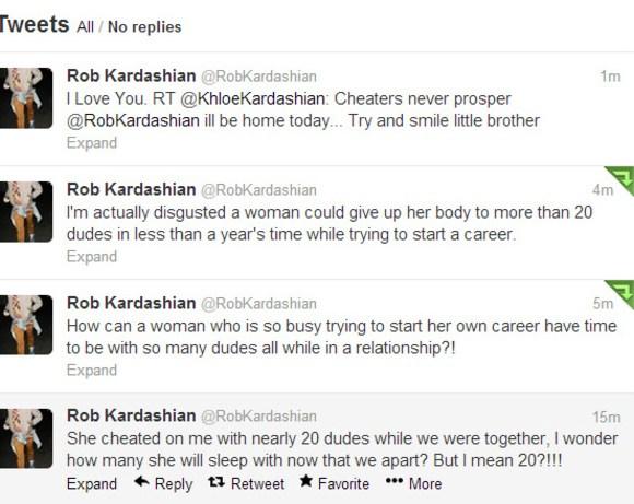 Rob Kardashian tweets about his ex-girlfriend Rita Ora