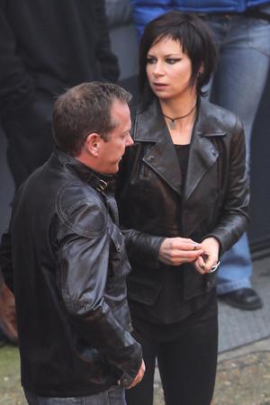 Kiefer Sutherland and Mary Lynn Rajskub, 24 filming in London