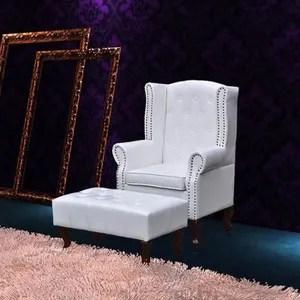 fauteuil fauteuil chesterfield avec ottoman assorti blanc