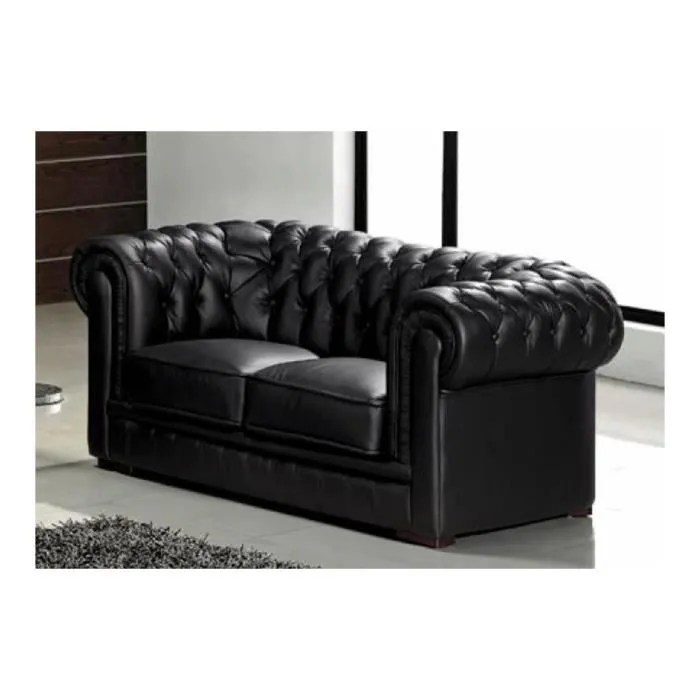 canape capitonne 2 places en cuir noir chesterfield