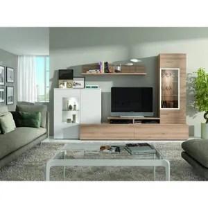ensemble bibliotheque et meuble tv nahel chene clair polar entourage vitre polar 21898