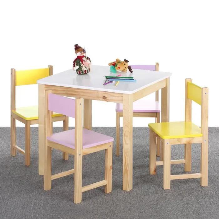 ensemble table et 4 chaises en bois pour enfant mobilier pour chambre d enfant chaises colorees et table blanc