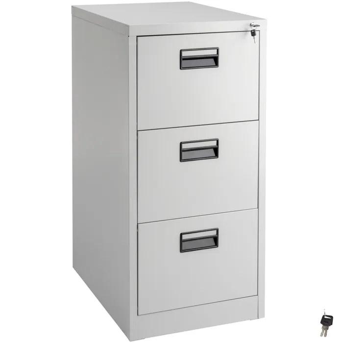armoire de bureau meuble de classement de rangement a 3 tiroirs a 2 cles en acier 62 4 cm x 46 cm x 102 8 cm gris tectake