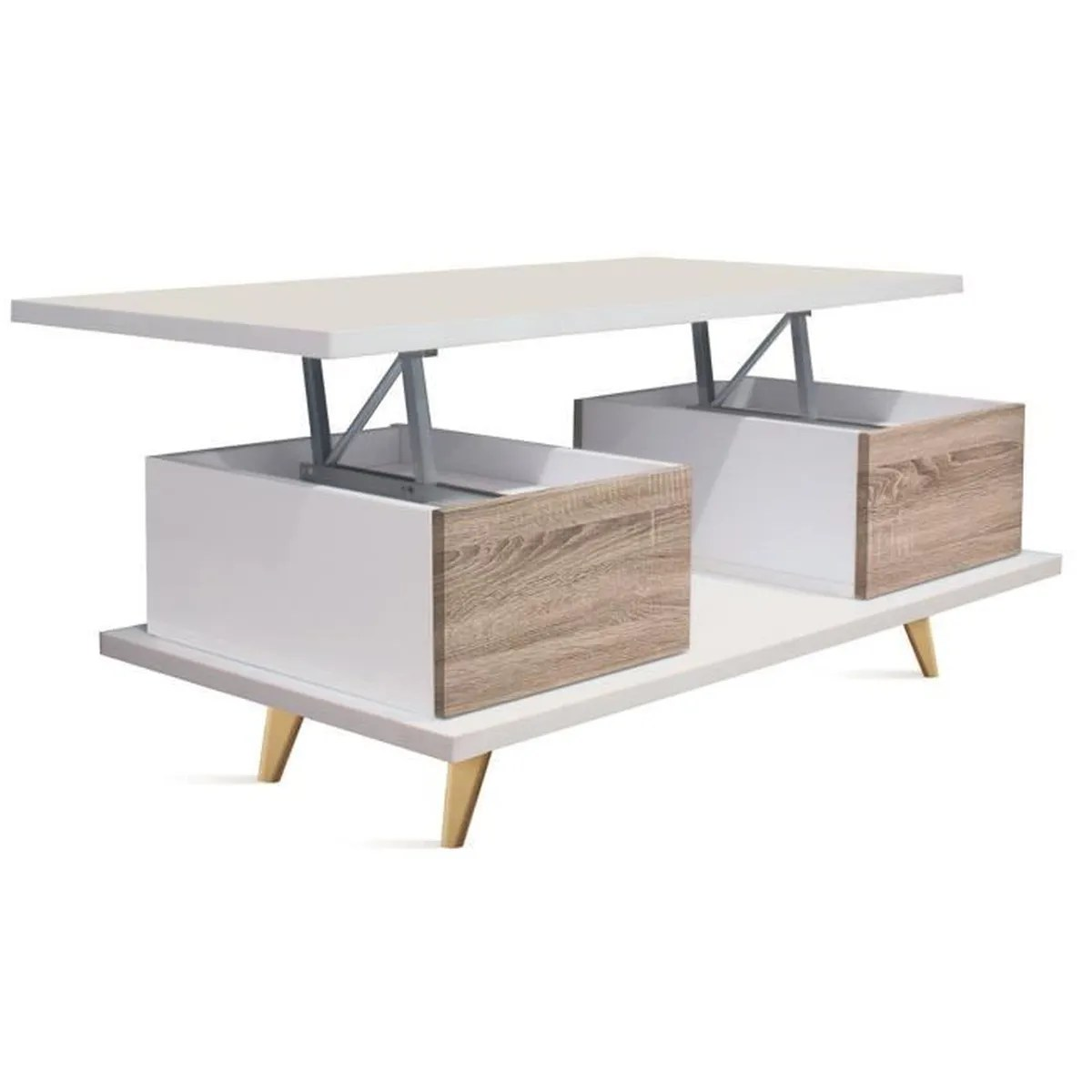 Table Basse Relevable En Bois Coloris Blanc Cambrian