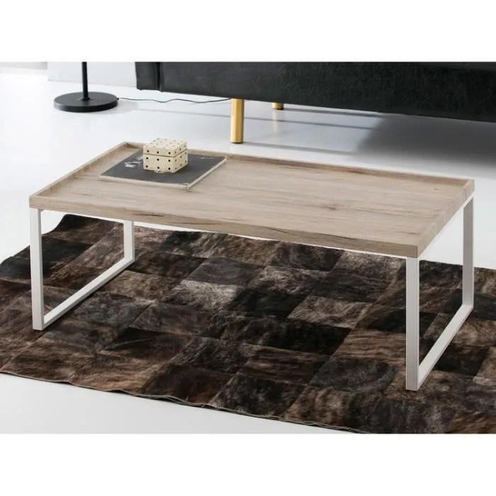 table basse plateau en bois decor chene vieilli et pieds en metal l110cm venice achat vente table basse table basse plateau en bois cdiscount