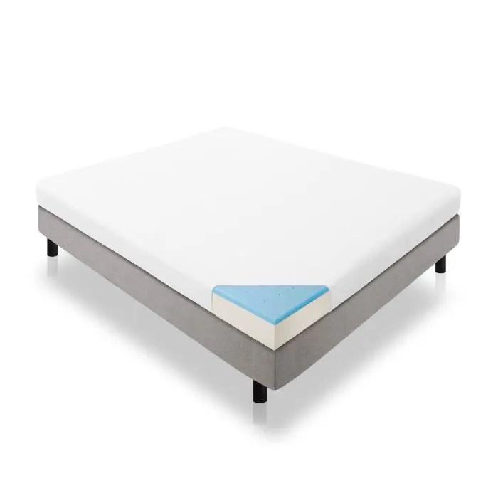 lucid double couche de 5 pouces double taille gel matelas mousse memoire taille double couleur blanc 13739