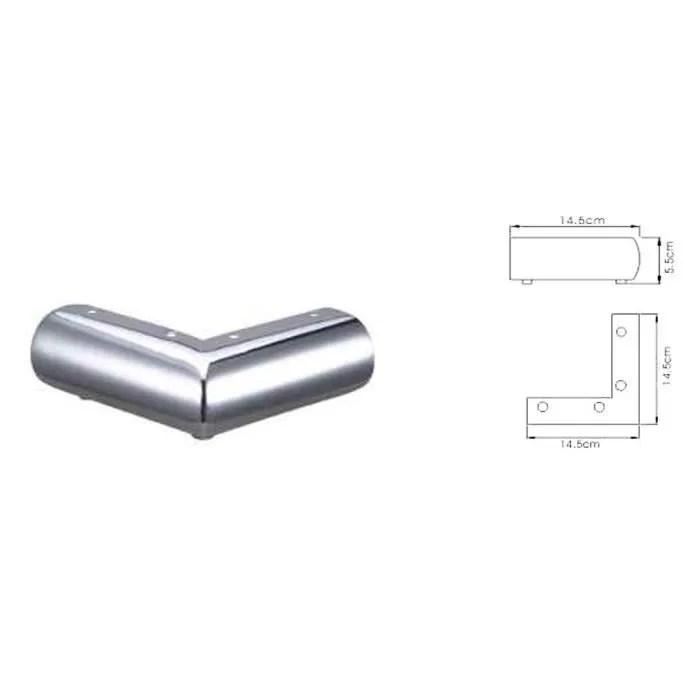 pied de lit lot de 4 pieds de canape en aluminium argente