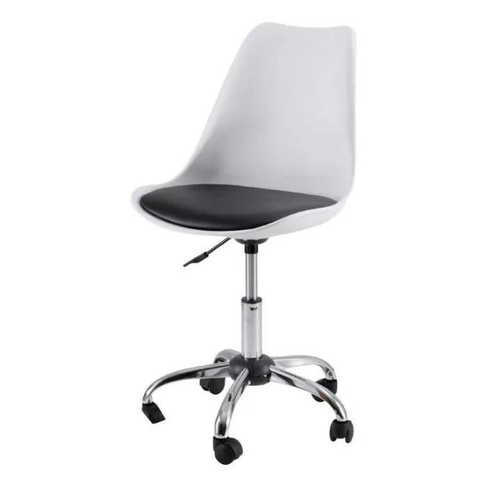 Chaise De Bureau Roulette Irina Blanc IdClik Achat