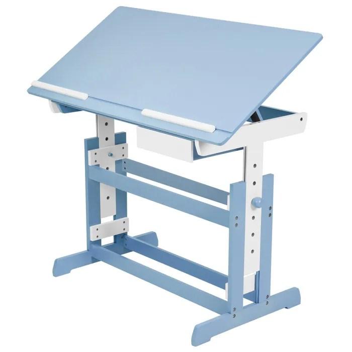 tectake bureau enfant pupitre enfant bureau reglable en hauteur et inclinable 109 cm x 55 cm x 94 blanc bleu new