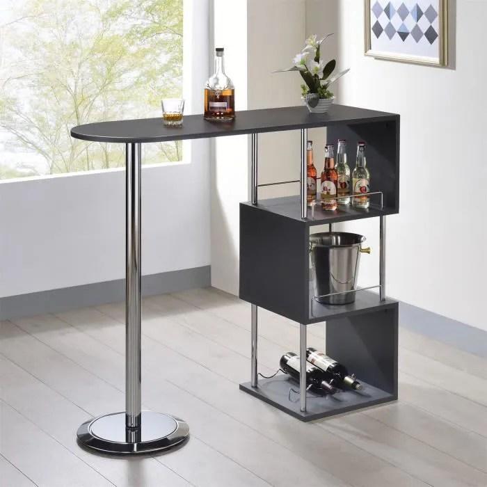 table haute de bar vigando mange debout comptoir avec 3 etageres dont 1 porte bouteilles en metal chrome et plateau en mdf gris mat