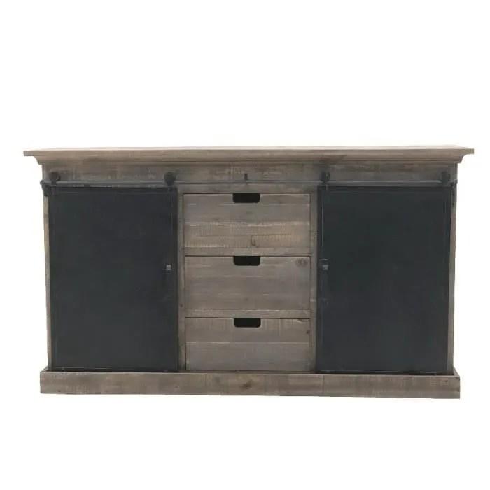 meuble campagne industriel bahut enfilade buffet bois fer160 cm