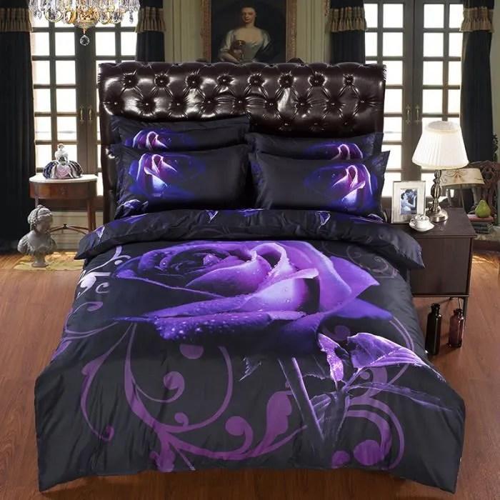 nouvelle arrivee 3d ensembles de literie violet rose imprime reine taille 4 pcs impression lit ensemble literie linge de lit drap