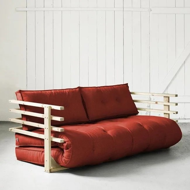 canape sofa divan convertible funk 160 naturel futon rouge