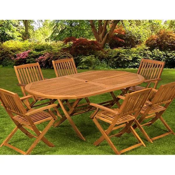 salon de jardin 1 table 6 chaises bois boston