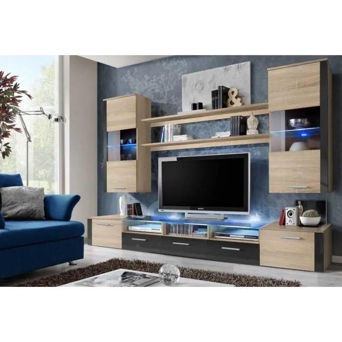 meuble de salon tv complet design twin led