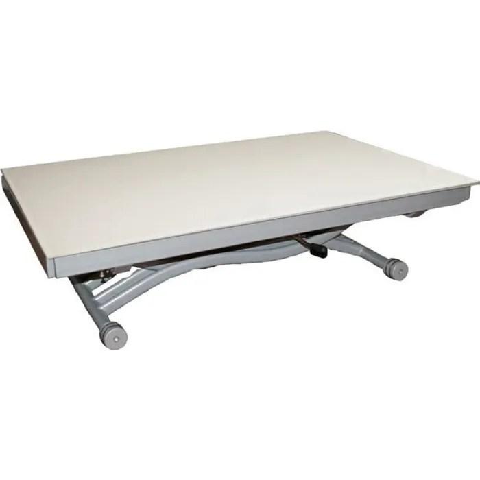 table basse relevable zen plateau en verre blanc