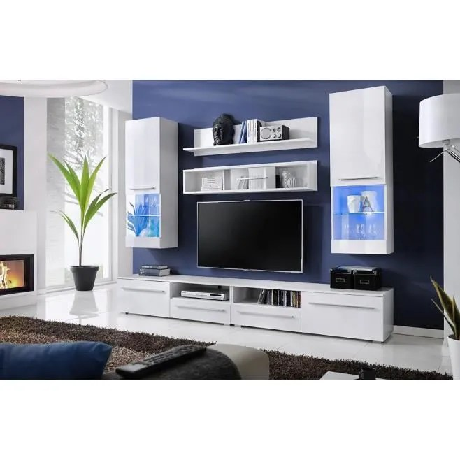 Meuble TV Design Laqu LUNA BLANC Avec Eclairag Achat