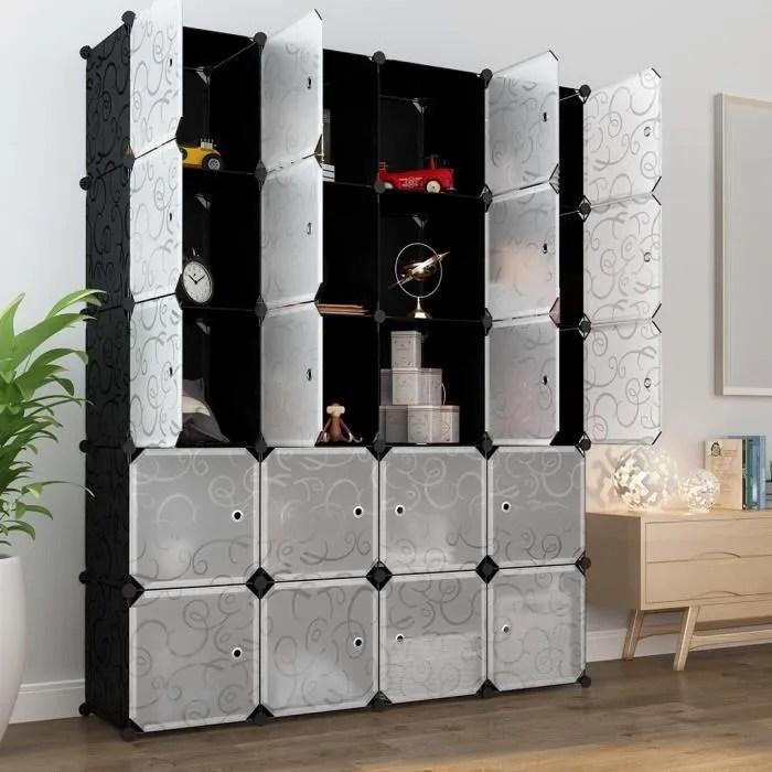 langria 20 cube armoire de chambre avec porte meuble de rangement avec penderie modulable tige a vetements pour vetement chaussure