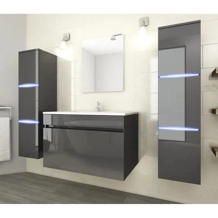 neptune ensemble salle de bain simple vasque l 80 cm avec eclairage led gris