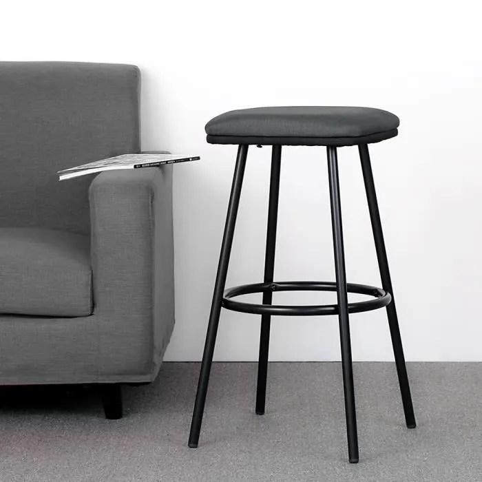 2pcs tabourets de bar haute qualite fer tissu mousse chaise de bar pub cuisine noir gris capacite max 120kg
