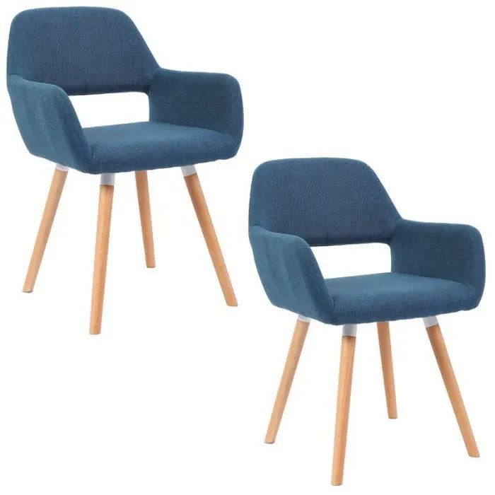 mctech lot de 2 chaises de salle a manger fauteuil design scandinave bleu cy32e