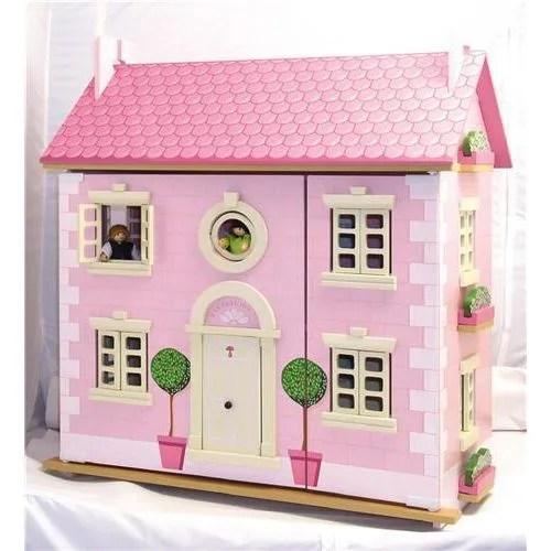 maison de poupee en bois rose