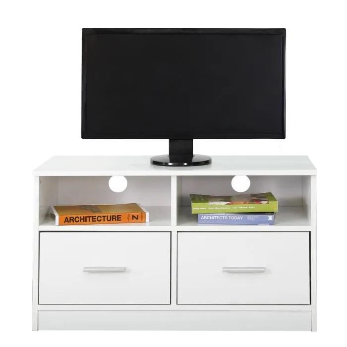 meuble tv cabinet en bois avec 2 tiroirs et tablettes de rangement unite divertissement blanc