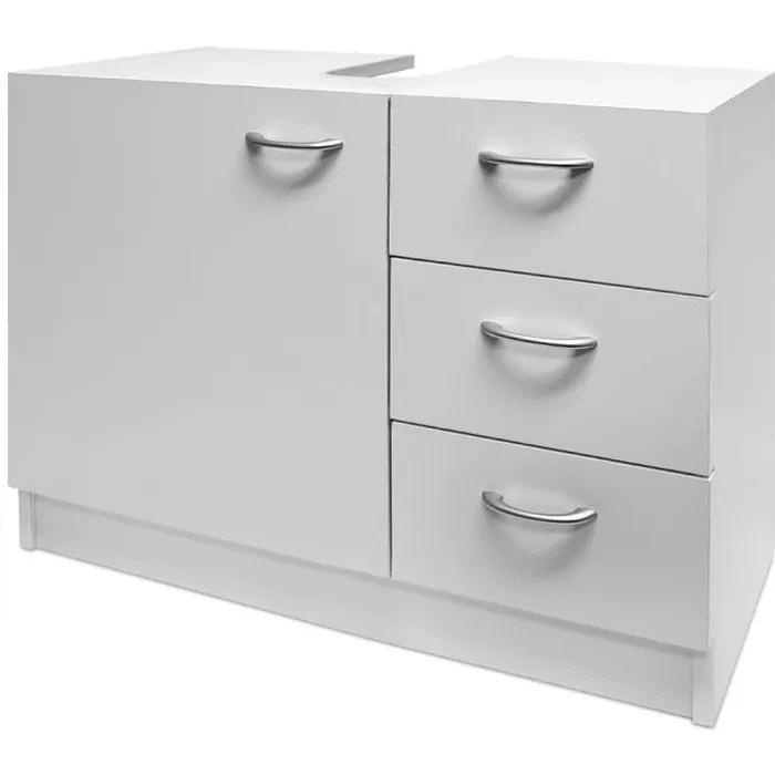 meuble rangement sous lavabo avec 3 tiroirs blanc salle de bain armoire