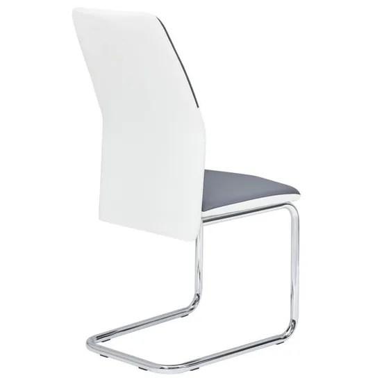 lot de 4 chaises de salle a manger leona pietement chrome revetement synthetique blanc et gris achat vente chaise blanc soldes des le 9 janvier