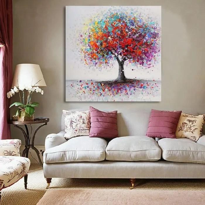 TEMPSA Tableau Peinture Huile Toile Color Arbre Cadre