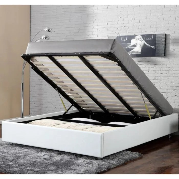 lit coffre clever blanc 160x200