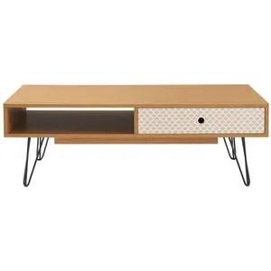 colette table basse vintage decor chene et imprime pieds metal noir laque l 110