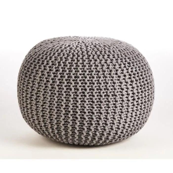 pouf tricot jef en polycoton o40xh30 cm gris clair