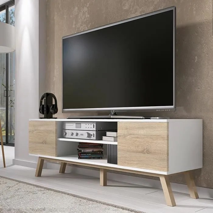 meuble tv meuble tv meuble salon vero bois 150 cm bl