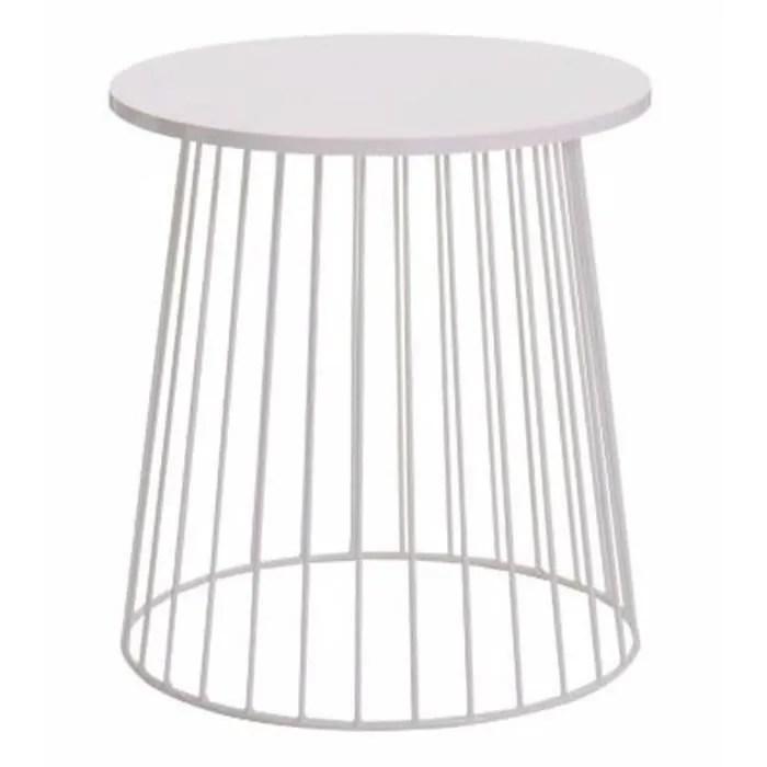 maya bout de canape table d appoint ronde style contemporain en metal laque epoxy blanc l 50 x l 50 cm