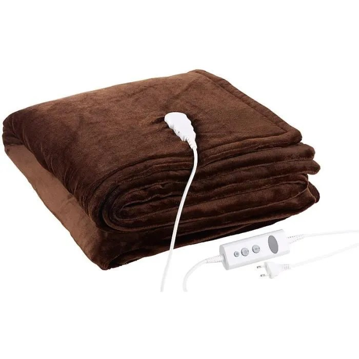 couverture chauffante couverture chauffante en polaire brun 180 x 200