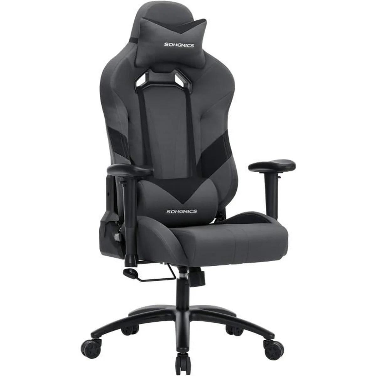songmics chaise de bureau racing sport hauteur reglable 124 132 cm chaise gamer dossier inclinable rcg13g